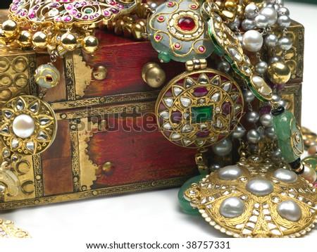 jewels in the jewelry box - stock photo