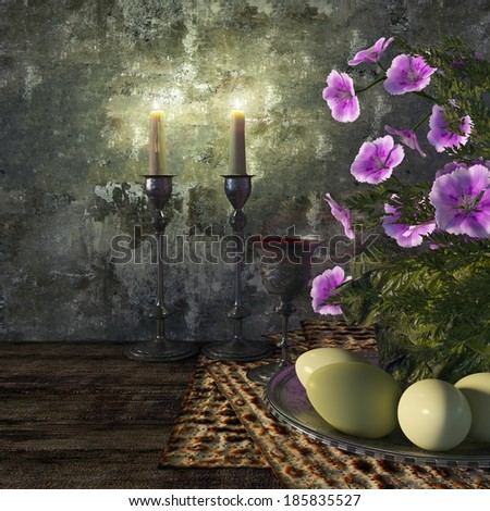 Jewish celebrate pesach passover with eggs, matzo and flowers holiday background - stock photo