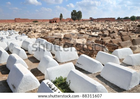 Jewish cemetery in Marrakech's medina (old town).Marrakesh, Morocco - stock photo