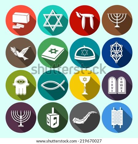 Jewish church traditional religious symbols flat icons set with torah david star dreidel isolated  illustration - stock photo
