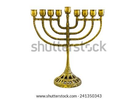 jewish holiday Hanukkah background with menorah  candles isolated on white - stock photo