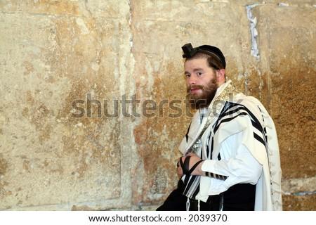 Jewish man dressed in ritual clothing - stock photo