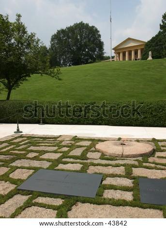 JFK Grave, Arlington Cemetary - stock photo