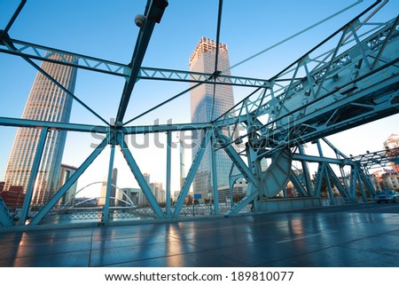 Jiefang-Steel bridge in tianjin - stock photo
