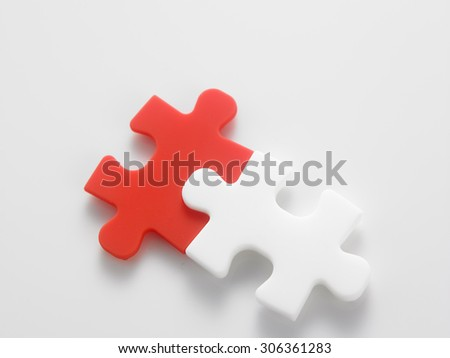 jig saw puzzle connected together - stock photo