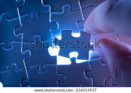 Jigsaw business success - stock photo
