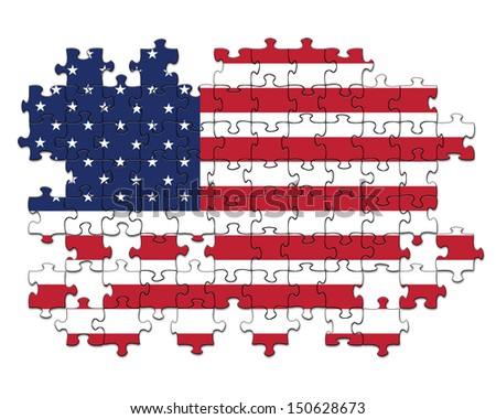 Jigsaw pattern of USA flag with missing pieces - stock photo