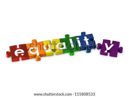 Jigsaw pieces spelling out EQUALITY - stock photo