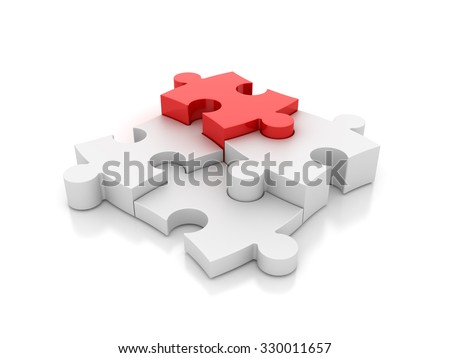 Jigsaw Pieces with one Red - Success and Individuality Concept -  High Quality 3D Render - stock photo