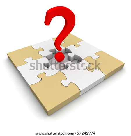 Jigsaw puzzle and red question mark. 3d rendered illustration. - stock photo