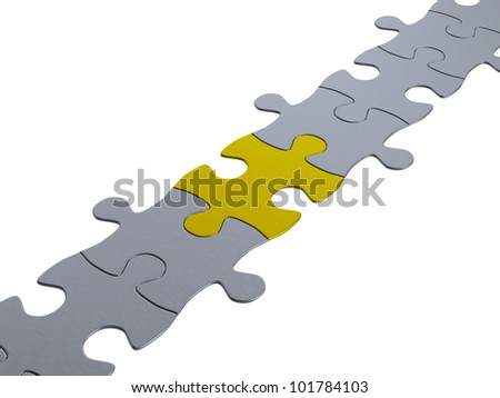 jigsaw puzzle chain, one gold piece - stock photo