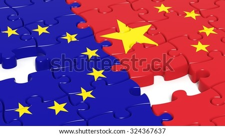 Jigsaw puzzle, flag of EU and flag of China - stock photo
