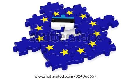 Jigsaw puzzle flag of European Union with Estonia flag piece, isolated on white. - stock photo