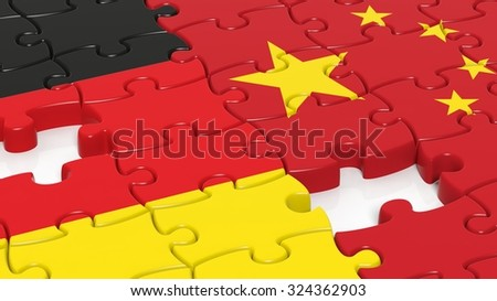 Jigsaw puzzle, flag of Germany and flag of China - stock photo