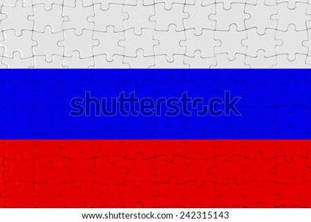 Jigsaw Puzzle Flag of Russia - stock photo