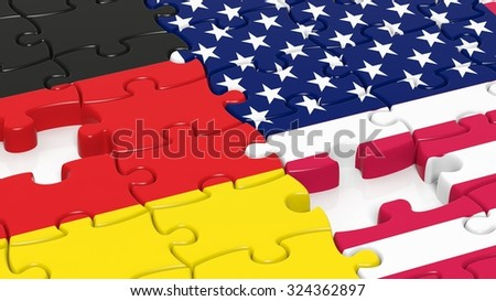Jigsaw puzzle, flag of USA  and flag of Germany - stock photo