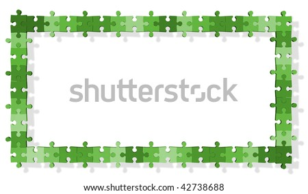 Jigsaw puzzle frame - stock photo