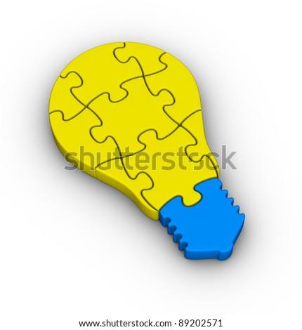 jigsaw puzzle light bulb icon - stock photo