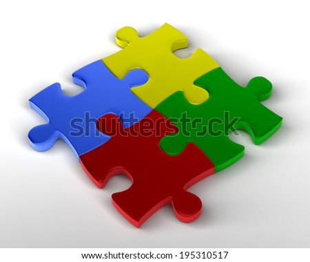 Jigsaw Puzzle Multicolored pieces joined together - stock photo