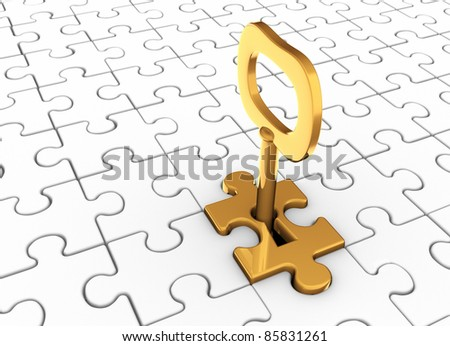Jigsaw puzzle piece with key in keyhole. This is a 3d render illustration - stock photo