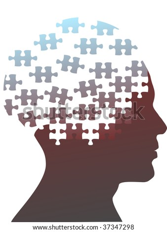 Jigsaw puzzle pieces as the mind in the profile head of the profile of a man. - stock photo