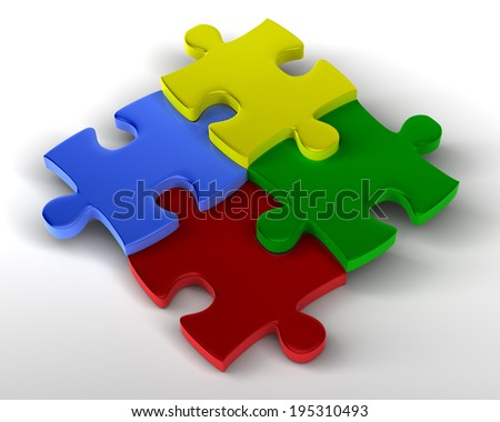 Jigsaw Puzzle Staggered Multicolored pieces Staggered, joined together - stock photo