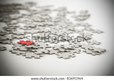 Jigsaw puzzle, success in business concept on white background - stock photo