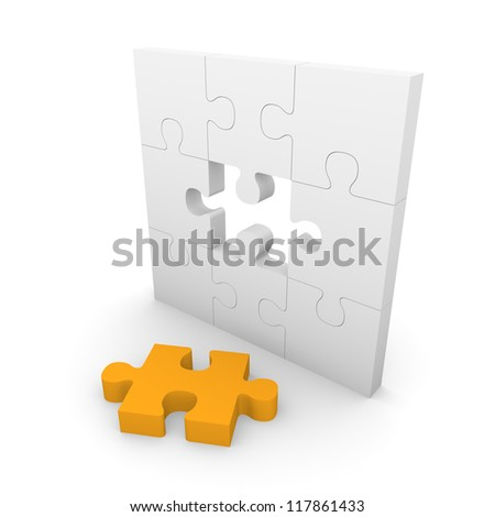 Jigsaw puzzle wall with gap. 3d rendering. - stock photo