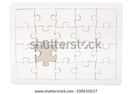 Jigsaw puzzle with missing piece isolated on white - stock photo