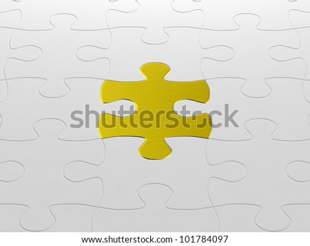 jigsaw puzzle with one gold puzzle piece - stock photo