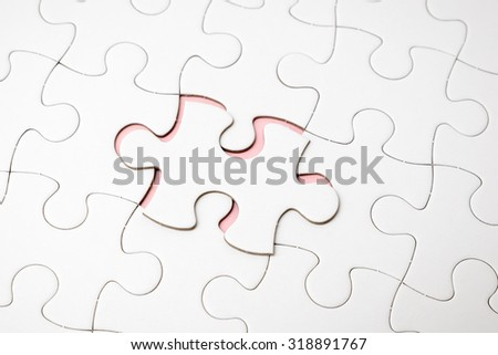 Jigsaw puzzles last one for complete your mission - stock photo