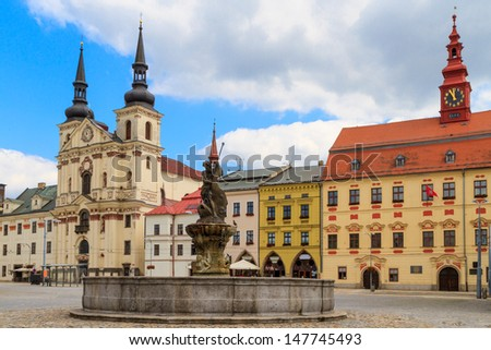Jihlava (Iglau) Main (Masaryk) Square with Saint Ignatius Church, Moravia, Czech Republic - stock photo