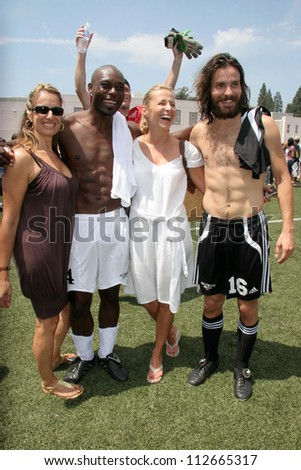 Jimmy Jean-Louis and Santiago Cabrera at the Soccer for Survivors Celebrity Showcase Match. Beverly Hills High School, Beverly Hills, CA. 07-22-07 - stock photo