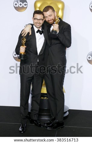 Jimmy Napes and Sam Smith at the 88th Annual Academy Awards - Press Room held at the Loews Hollywood Hotel in Hollywood, USA on February 28, 2016. - stock photo