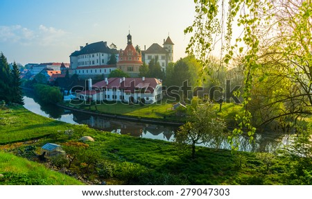 Jindrichuv Hradec castle, South Bohemia, Czech Republic in morning light - stock photo