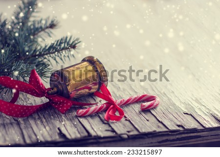 Jingle bell ,Christmas tree branches with copy space - stock photo