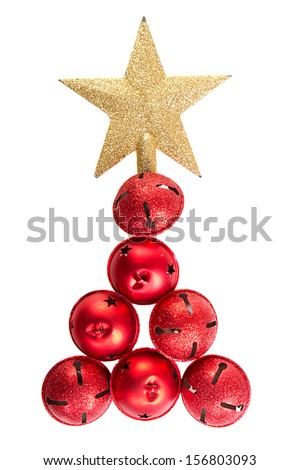 Jingle bells and star shaped as a Christmas tree isolated on a white background - stock photo