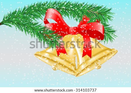 Jingle bells with red bow. Christmas decoration. Raster version. Illustration  on winter background - stock photo