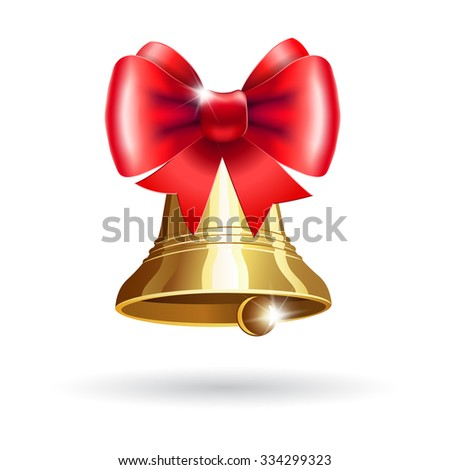 Jingle bells with red bow on a white background. Christmas llustration for  posters, icons, greeting cards, print projects.  Raster version - stock photo