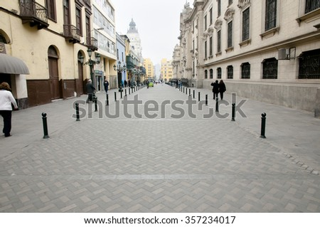 Jiron Carabaya Street - Lima City - Peru - stock photo