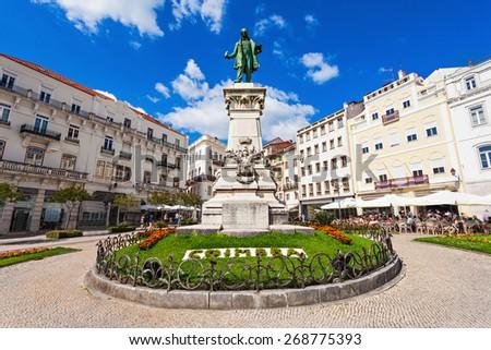 Joaquim Antonio de Aguiar monument at Largo da Portagem in Coimbra, Portugal. He was a prominent Portuguese politician. - stock photo