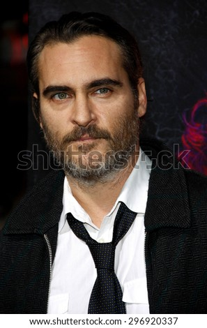 Joaquin Phoenix at the Los Angeles premiere of 'Inherent Vice' held at the TCL Chinese Theatre in Hollywood on December 10, 2014.   - stock photo