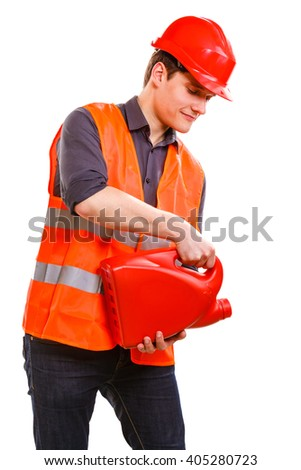 Job and work concept. Young handsome worker wearing orange uniform safety vest with oil gas fuel. Repairman inspector isolated on white. - stock photo