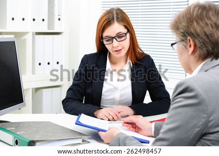 Job applicant having an interview - stock photo