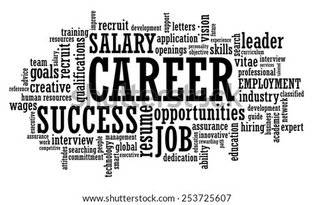 Job Career Employment Opportunity word cloud raster illustration - stock photo