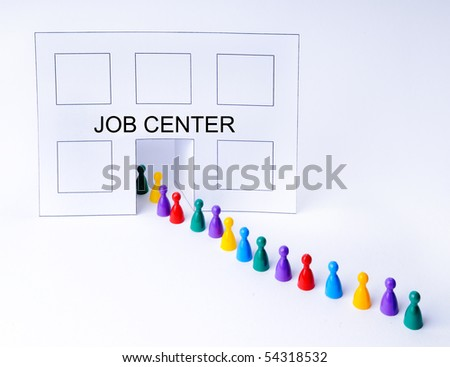 Job Center - Concept with isolated plasic figures - stock photo