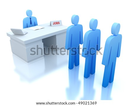 Job Centre : employers testing for employees . 3D concept . - stock photo