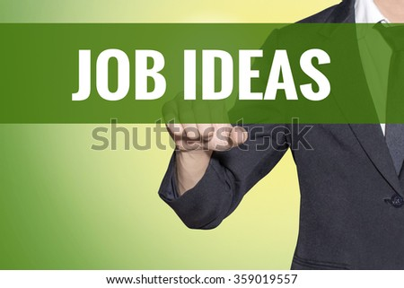 Job Ideas word Business man touch on vintage yellow green tab virtual screen - stock photo