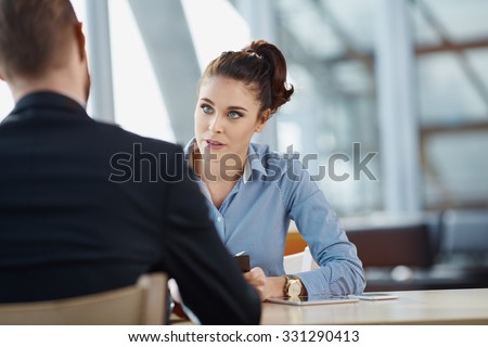 Job interview - recruiter asking questions - stock photo