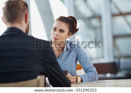 Job interview recruiter listen to candidate - stock photo